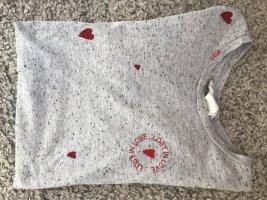 H&M T-shirt jasnoszary-jasnoczerwony Bawełna