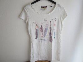 T-Shirt weiß bunt Print Baumwolle Leinen Größe 1