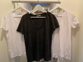 Zara T-shirt blanc-brun noir