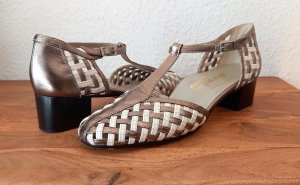 Alexandria T-Strap Pumps bronze-colored-white leather