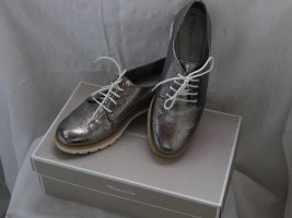 Tamaris Lace Shoes silver-colored leather