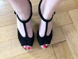 Tamaris High Heel Riemchen Sandalette Anti Shock Technologie schwarz Wildleder