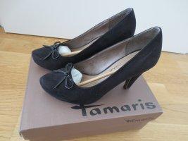 Tamaris, High Heels, Rauleder, schwarz, Gr. 37, nur 3x getragen, Absatz 9 cm