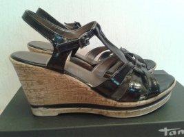 Tamaris Keil-Sandalette schwarz Lack