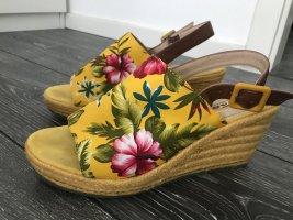 Tamaris Keilabsatz Sandaletten 39 Blumen gelb Petrol pink