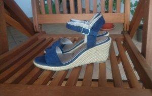 Tamaris Pumps met sleehak licht beige-blauw