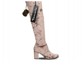 Tamaris Overknee Boots, Stiefel, hohe Stiefel, mit Reißverschluss, Georgy, rose, lila, Samt, mit Bommel, Größe 38, wie neu