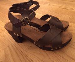 Tamaris Platform Sandals black brown-dark brown leather