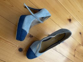 Tamaris Pumps High Heels 39 Blau Plateau Riemchenpumps