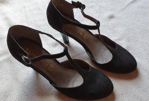 Tamaris Zapatos de tacón con barra en T negro tejido mezclado