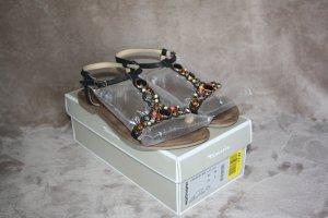 Tamaris Sandalen aus Leder, Größe 40/41 - schwarz mit bunten Steinen