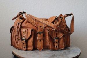 ECHT LEDER Bolsa de hombro naranja oscuro Cuero