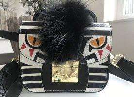 Tasche Blogger Leder Echtleder Zebra Metropolitan Crossbody Small Kette NEU
