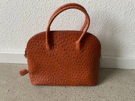 Tasche kelly Orange Straußenleder Optik Leder