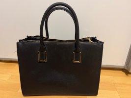 Tasche mit Henkel schwarz Gold Handtasche Shopper Zipper
