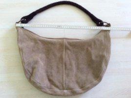 Tasche Schultertasche Pieces beige Leder, innen Leinen