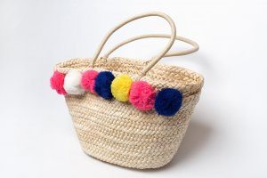Keine Marke Bolso tipo cesta crema tejido mezclado