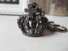 Taschen- oder Schlüsselanhänger Krone schwarz Neu