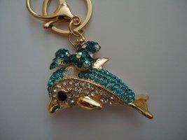 Porte-clés doré-bleu fluo