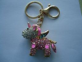 Breloczek do kluczy złoto-różowy neonowy