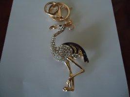 Taschen-Schlüsselanhänger Flamingo schwarz-weiß