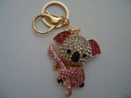 Porte-clés doré-rose fluo