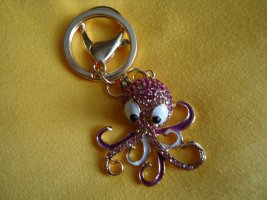 Taschen-Schlüsselanhänger Octopus pink