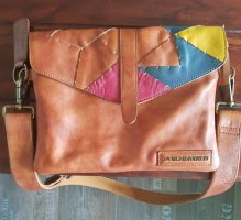 Taschendieb  Crossover Schultertasche, Leder braun/pink/türkis/gelb