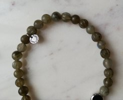 Tateossian London Armband 925 Sterling Silber Perle Labradorit