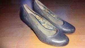 taupe/graublaue hohe Lederpumps 37 38