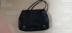 Tchibo / TCM Laptop bag black-silver-colored leather