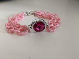 Textil-Gliederarmband in Rosa mit Swarovski Kristall