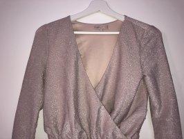 The Girlcode - Glitzernder Tanga-Bodysuit mit Wickeldesign vorn in Rosa