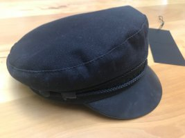 The Kooples Flat Cap black cotton