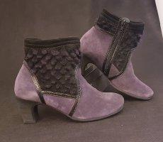 Think! Stiefeletten, Violet Lila Boots mit cut-out gesteppt echtpelz Besatz, Gr. 38