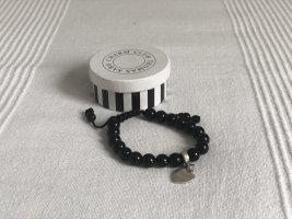 Thomas Sabo Bracelet en perles noir-argenté