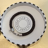 Thomas Sabo Bracelet en cuir argenté-brun noir