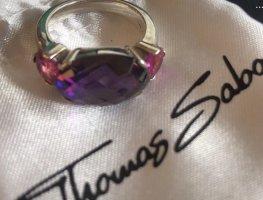 Thomas Sabo Bague incrustée de pierres violet foncé-violet