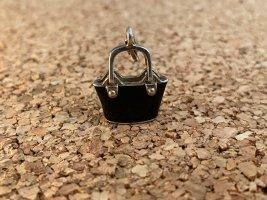 Thomas Sabo Ciondolo nero-argento Tessuto misto