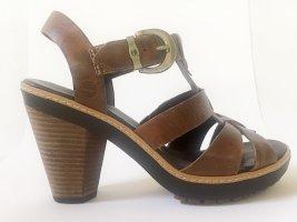 Timberland Platform High-Heeled Sandal bronze-colored leather