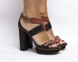 Tod's Damen Sandalen braun Größe 38,5 Leder Damen schwarz/rotbraun Riemchen