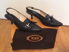 Tod's Slingback-Pumps aus schwarzem Leder Größe 37,5