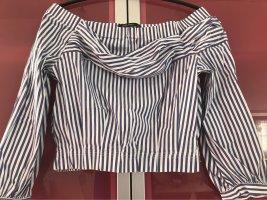 Zara Bluzka typu carmen biały-ciemnoniebieski