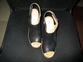 Wedge Sandals black-oatmeal leather