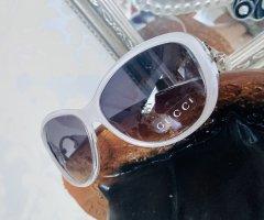 Gucci Gafas de sol ovaladas blanco-negro