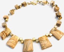 Tolle Halskette Collier aus echtem Landschaftsjaspis