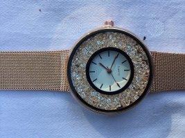 Tolle Strass Metallarmband Schmuck Uhr rosé Gold