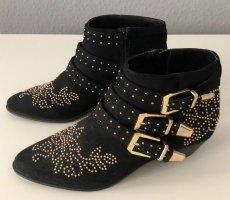 Topshop Botas de tobillo negro-color oro