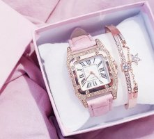 1.2.3 Paris Watch With Leather Strap pink