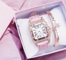 1.2.3 Paris Montre avec bracelet en cuir rose